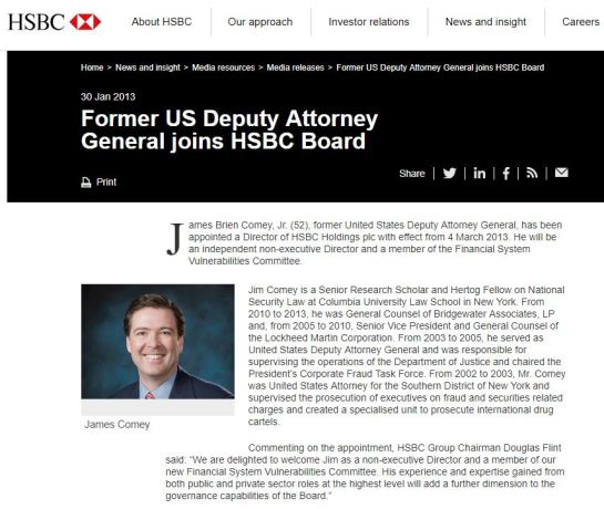 James Comey HSBC