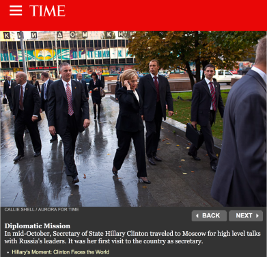 Hillary Clinton on October 2009 trip to Moscow as Secretary. of State